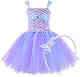 Mermaid Tutu Dress with Headband Mermaid Dress for Girls Purple Tutu Dress Tulle Costume Outfit for Party,Cosplay 2T 4T 6T 8T