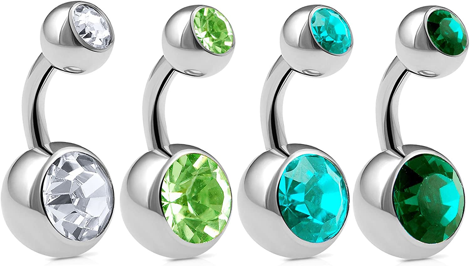 4pcs 14g 1/4 Short Belly Button Ring Navel Piercing Surgical Steel Crystal Bars Earrings Studs Non Dangle AXCZ