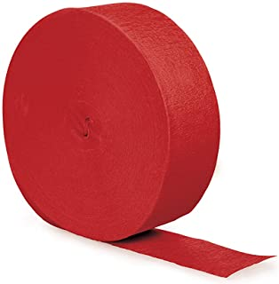Creative Converting Touch of Color Crepe Paper Streamer Roll, 500-Feet, Classic Red - 0
