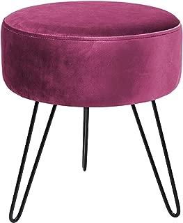 Sorbus Velvet Footrest Stool, Round Mid-Century Modern Luxe Velvet Ottoman, Footstool Side Table, Removable Metal Leg Design (Red Magenta)