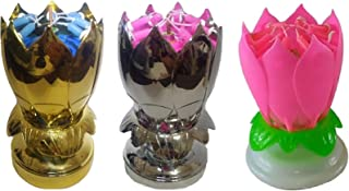 Birthday Candles 3 Pack Special - 1 Gold, 1 Silver and 1 Unique Cake Party (Pink)