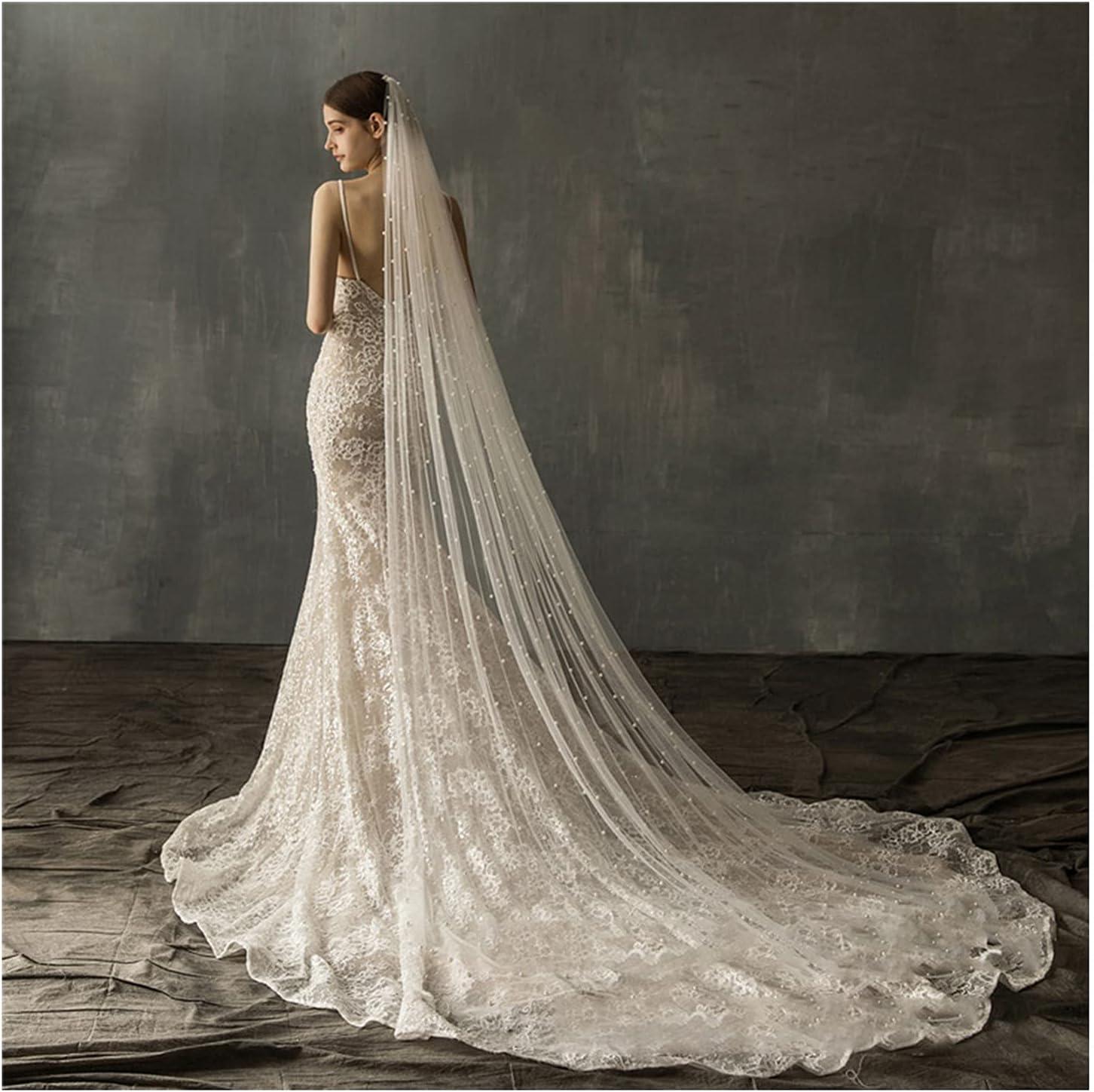 HEMOTONE Ladies Pearl Veil Comb Brida Cathedral Long Luxury Indefinitely In stock