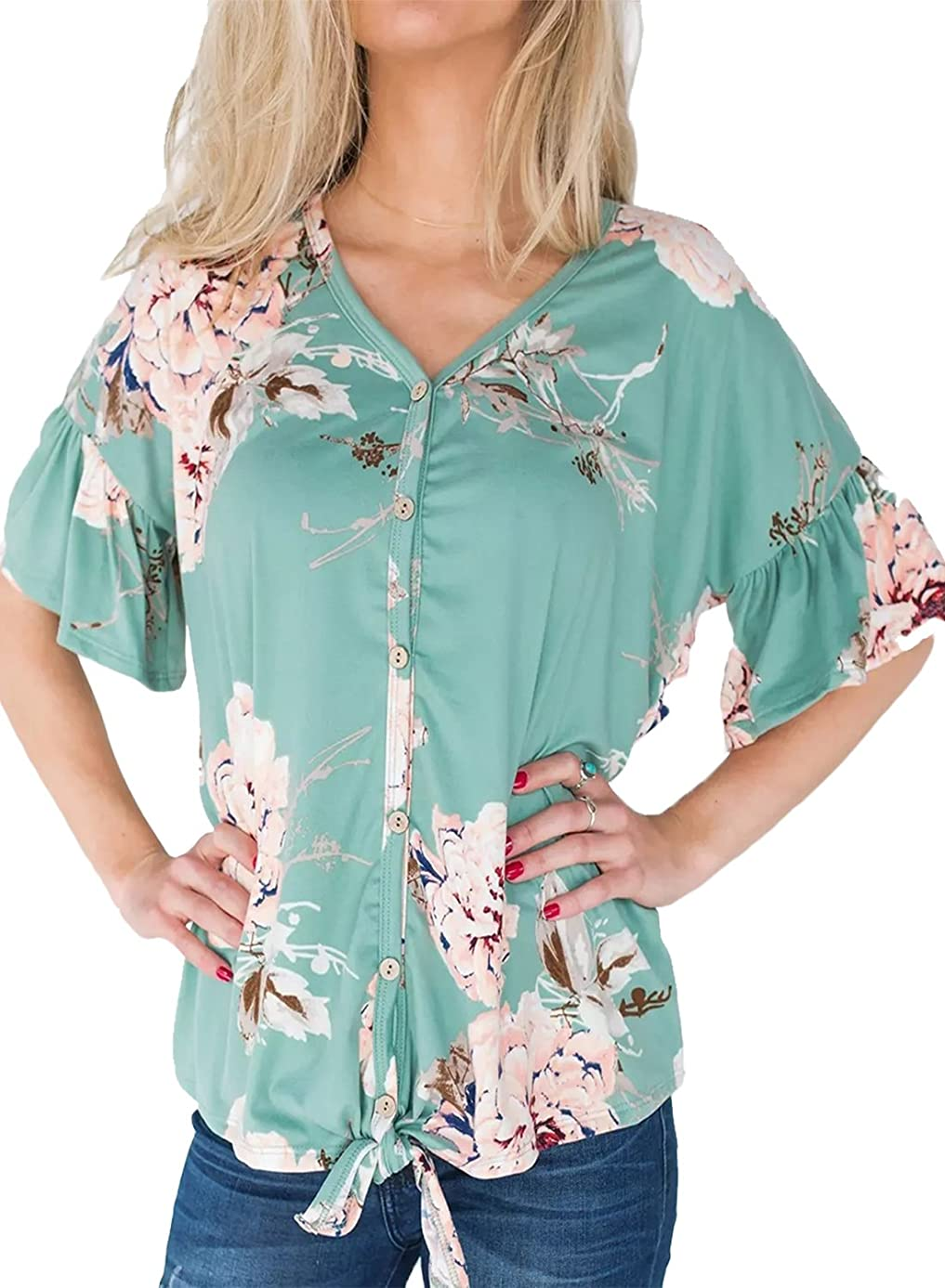 Womens Floral Print Tie Front Tops Ruffle Short Sleeve Casual Blouse
