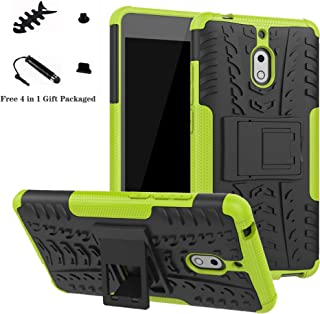 LiuShan Shockproof Heavy Duty Combo Hybrid Rugged Dual Layer Grip Cover with Kickstand for Nokia 2.1 Smartphone (with 4in1 Packaged) Green LS00607-3