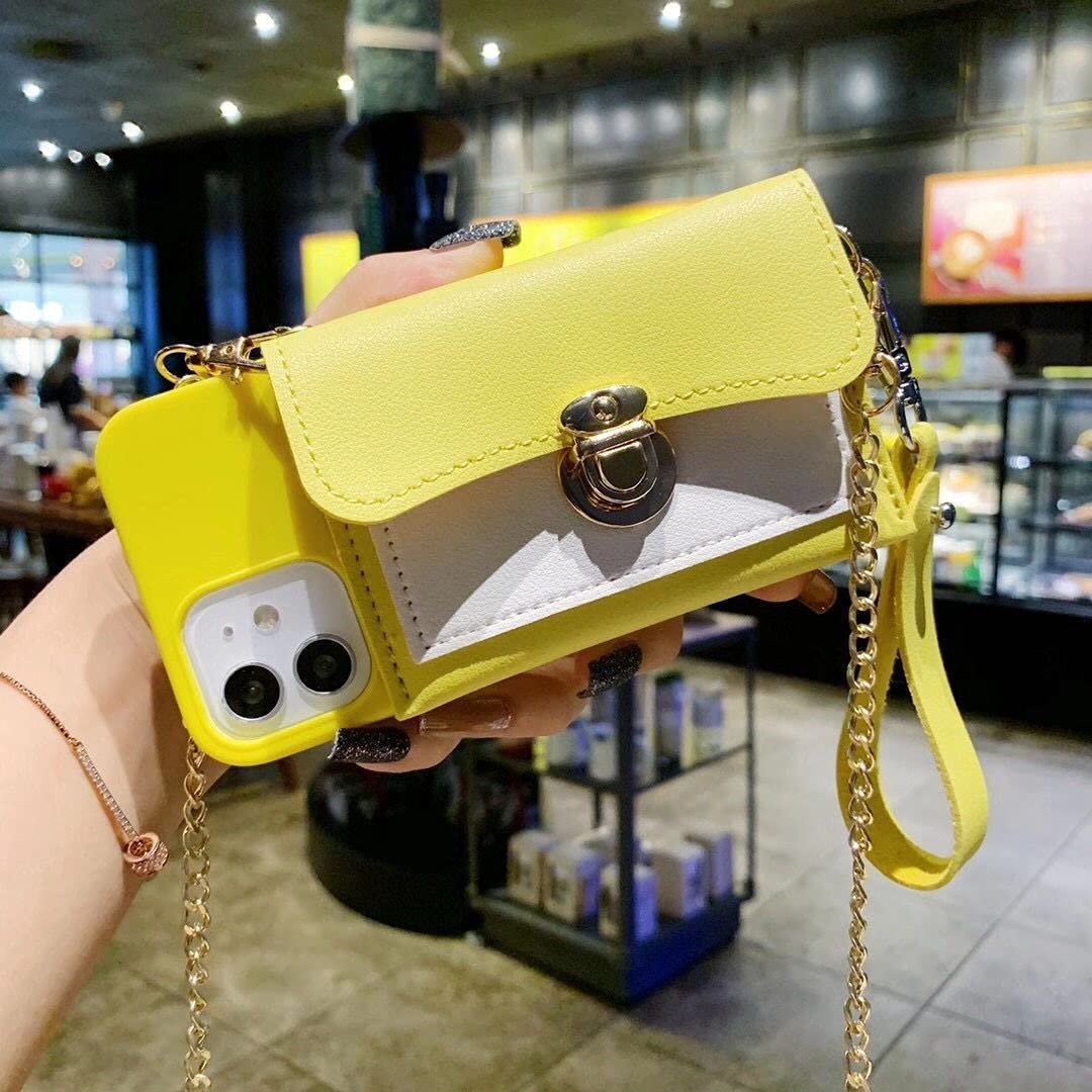 ISYSUII Crossbody Case for Samsung Galaxy A12 5G Wallet Case with Card Holder Slots Detachable Wrist Strap Shoulder Chain Leather Protective Purse Case Magnetic Cover for Girl Women,Yellow