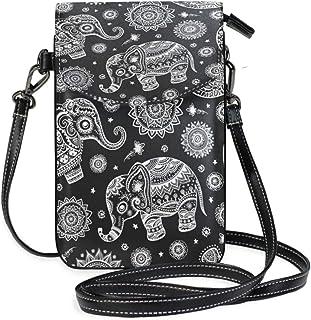 ZZKKO Tribal-Elefanten-Mini-Umhängetasche, Umhängetasche, Handy-Geldbörse, Geldbörse, Tasche, Handtasche, Leder, für Dame...