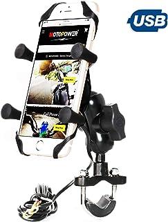 MOTOPOWER MP0622 Motorrad Handyhalter mit USB Ladegerät aus Aluminium