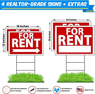 WDS Premium for Rent Signs with Stakes + Bonus Waterproof Flyer Holder + Permanent Marker - Yard Signs - Reusable Double-Sided w/Directional Arrows - New for 2018! Taller Yard Stakes + Flyer Bag