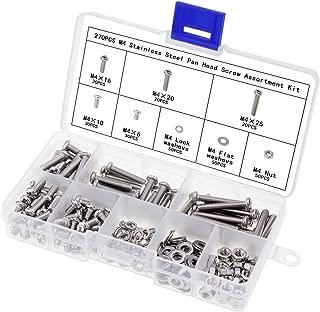 AuSL Stainless Steel M4 Screw Nuts Pan Head Screw Bolts Nuts Assortment with Lock Flat Washers 270PCS(M4 Pan Head Screw-270pcs)