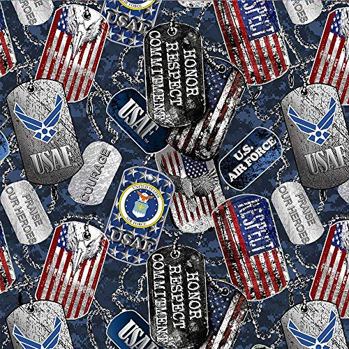 United States Military US Air Force USAF Cotton Fabric with Dog Tags and Digi Camo Ground Design-Sold by The Full Yard