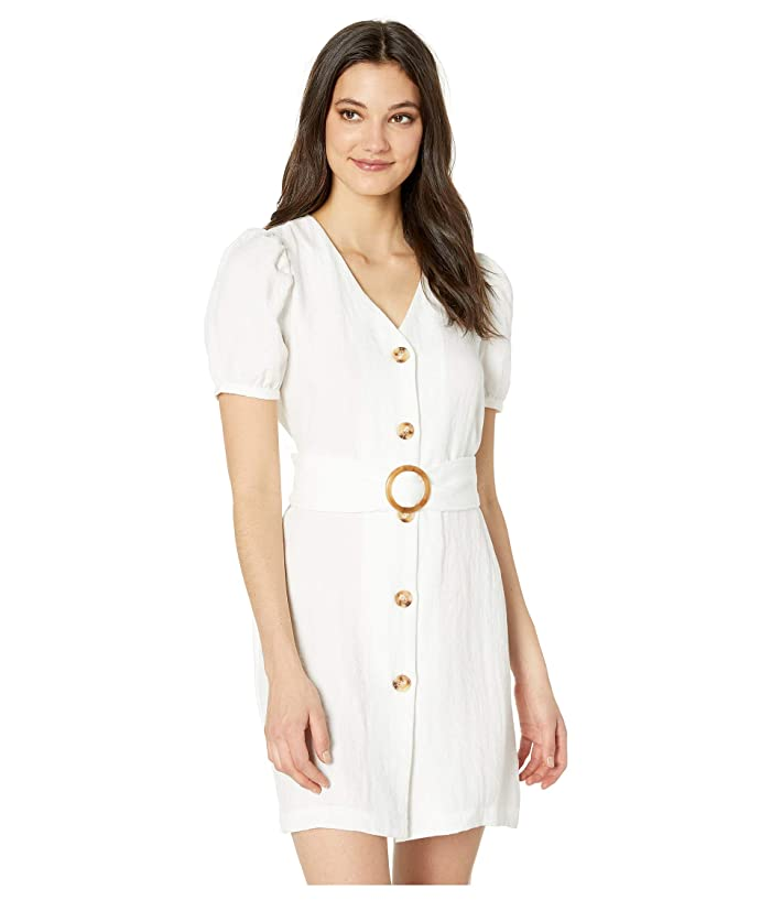 J.O.A. Puff Sleeve Dress with O-Ring Belt Detail (Off-White) Women