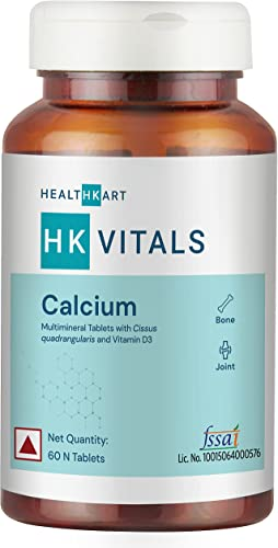 Healthkart Calcium Tablets for Men and Women with Magnesium Zinc Vitamin D3 Formula for complete bone health Joint Support 60 Tablets