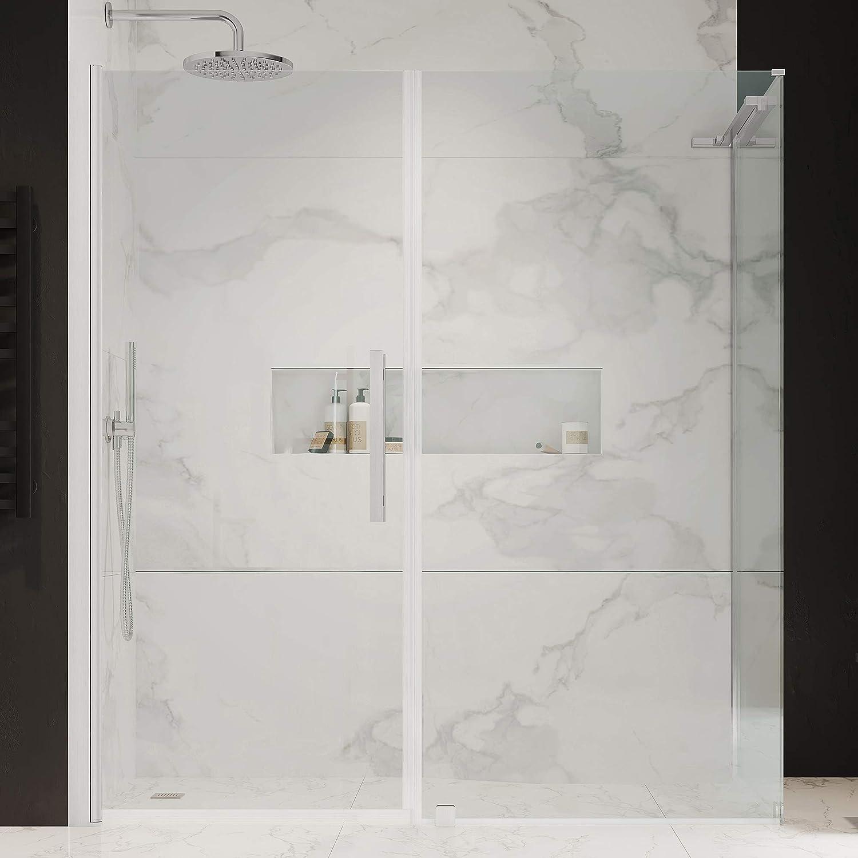 Houston Mall Ove Decors PA0683200 Pasadena Corner Shower Luxury goods Pivot Door Frameless