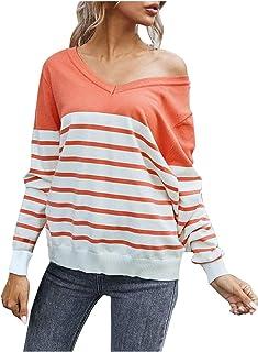 SHOBDW, Separación 2020 Moda Mujer Camiseta Manga Larga Labor De Retazos Blusa Tops Cuello Redondo Suelto Primavera Y Verano Ropa Camiseta Talla Grande S-3XL