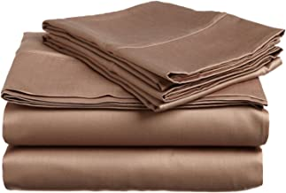 100% Premium Combed Cotton, 300 Thread Count; Deep-fitting pocket, Soft & Smooth 3-Piece Twin XL Sheet Set, Solid Taupe