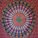momomus Tapiz de Mandala - Hecho a Mano con Algodón 100% y Tintes Vegetales Naturales - Adornos de Arte para Pared de Hogar, Pareo/Toalla de Playa Grande, Sofá - Azul-Rojo B, 210x230 cm