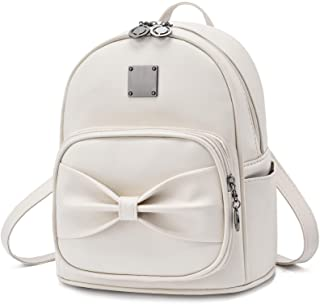 Mini Vegan Leather Purse Backpack with Cute Bowknot for Teen Girls Small Shoulder Bag Daypack