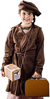 1940's-WW2-Wartime Girls Brown EVACUEE Coat, Cap, Gas MASK Box, Brown Suitcase Fancy Dress Costume - All Ages