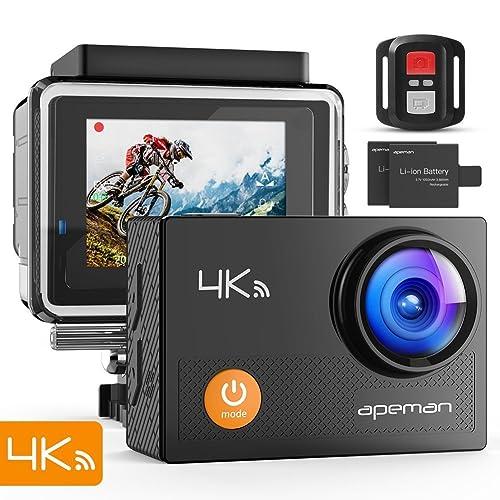 APEMAN Caméra Sport 4K Ultra HD 16MP Wi-FI avec Télécommande Appareil Photo Caméscope Étanche 30M 170° Grand-Angle avec 2 Pouces LCD 2 Batteries Rechargeables 1050mAh et 24 Accessoires