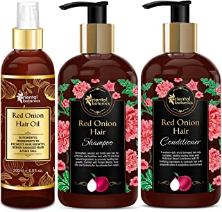 Oriental Botanics Red Onion Hair Shampoo 300ml + Conditioner 300ml + Hair Oil 200ml