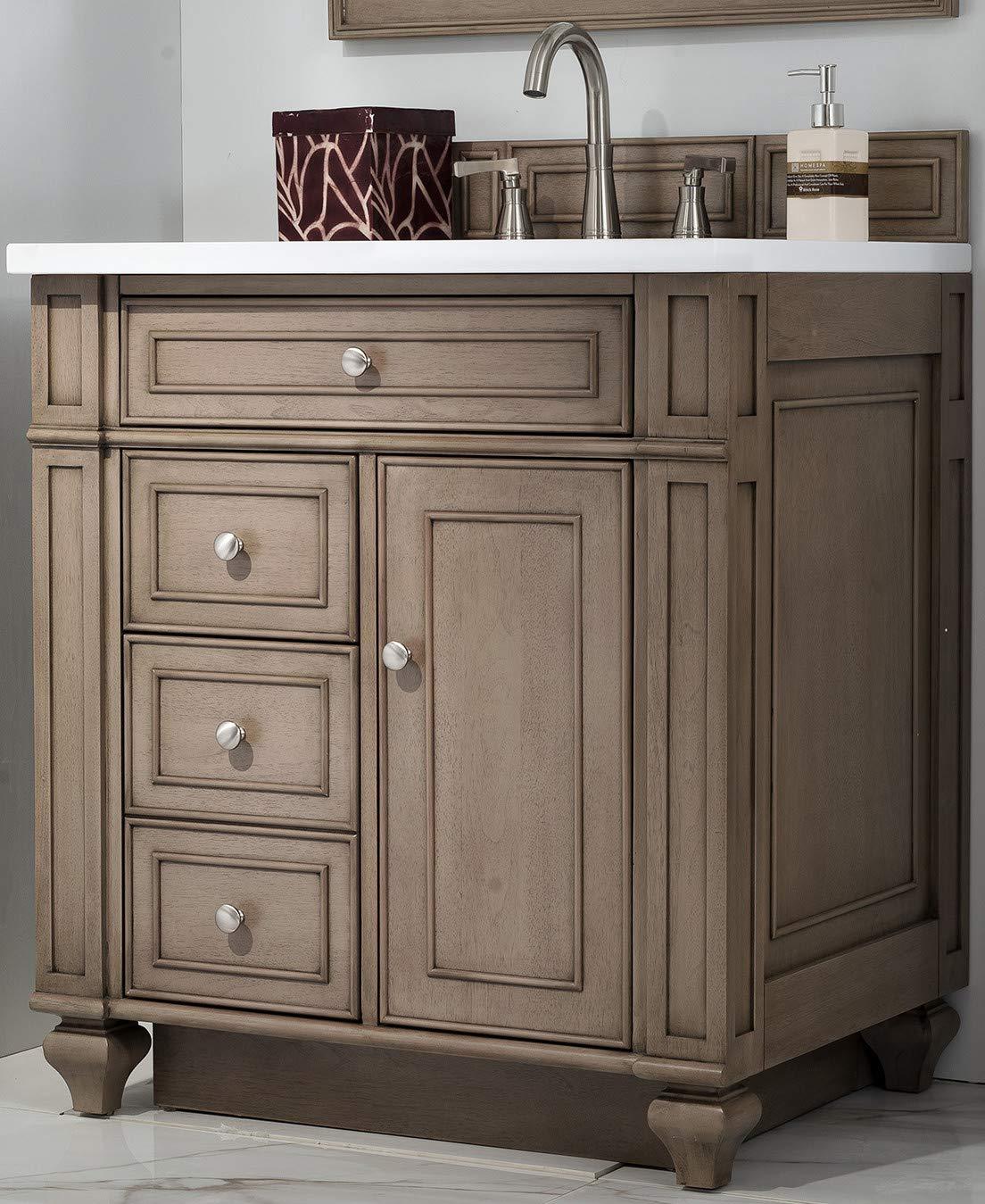 Bristol 30 Single Vanity White Washed Walnut With 3 Cm Classic White Quartz Top W Sink Amazon Com