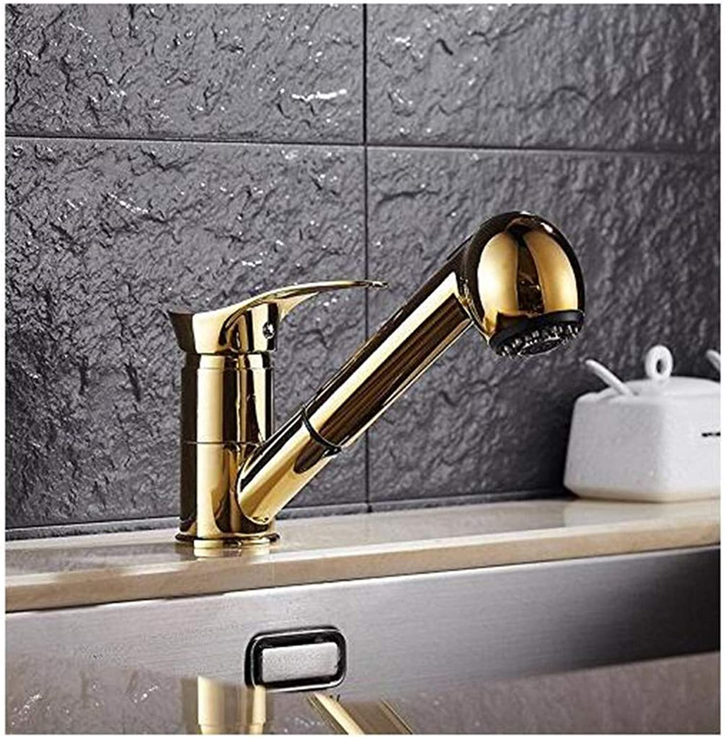Chrome Brass Kitchen Faucet golden Pull Out Kitchen Faucet Wash Dish Washing Bowl Tap Pull redating Size Water Cold Hot Kitchen Tap