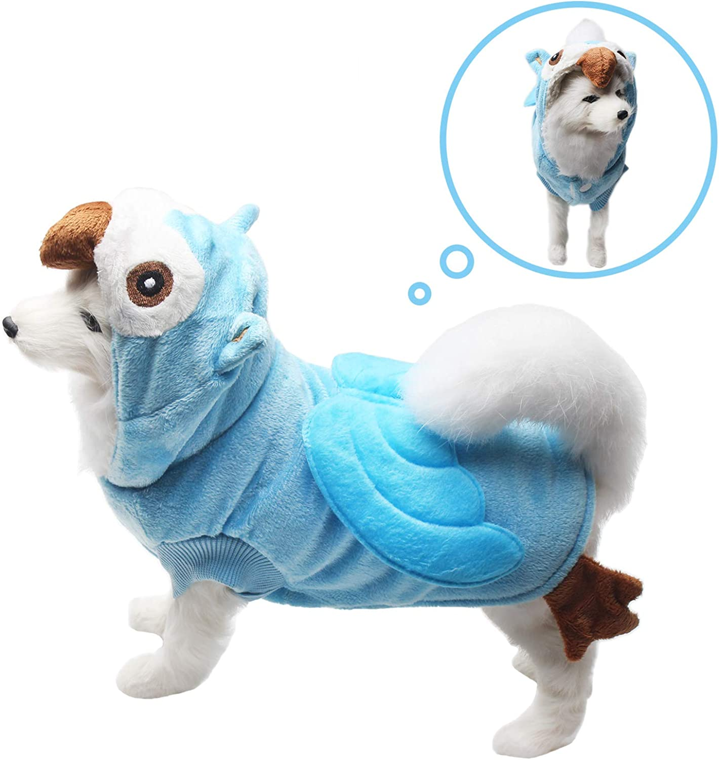 Neodot Dog Cosplay Pet Owl Shape Costume Halloween Dog Outfits Dog Pajamas Hoodie Cold Weather Coat for Autumn to Winter (XL, bluee)
