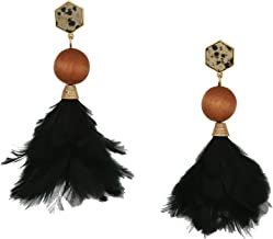 Tory Burch Women's Jasper Navy Feather Earrings