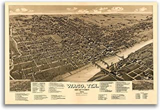 Magnet 1886 Waco Texas Vintage Old Panoramic City Map Magnet Vinyl Magnetic Sheet for Lockers, Cars, Signs, Refrigerator 5