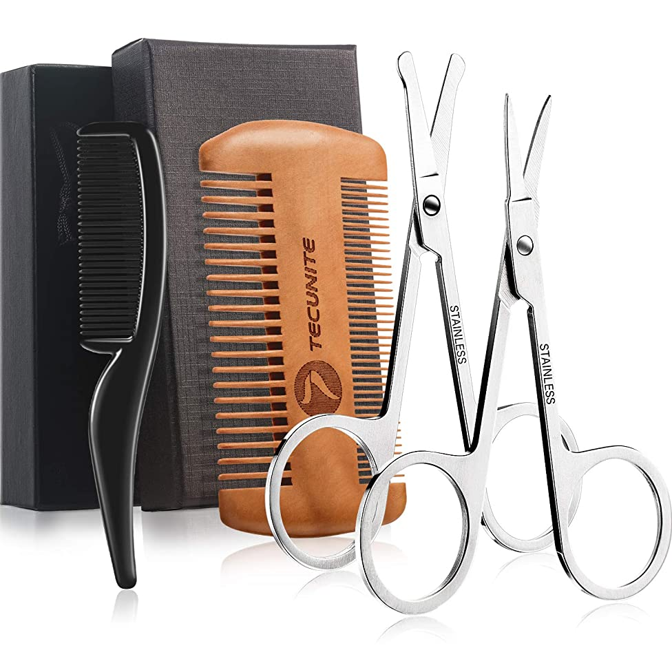 TecUnite 4 Pieces Beard Trimming Scissors Set, Grooming Scissors for Men and Mustache Beard Comb Beard Grooming Trim Scissor Kit with Storage Bag (Style 2)