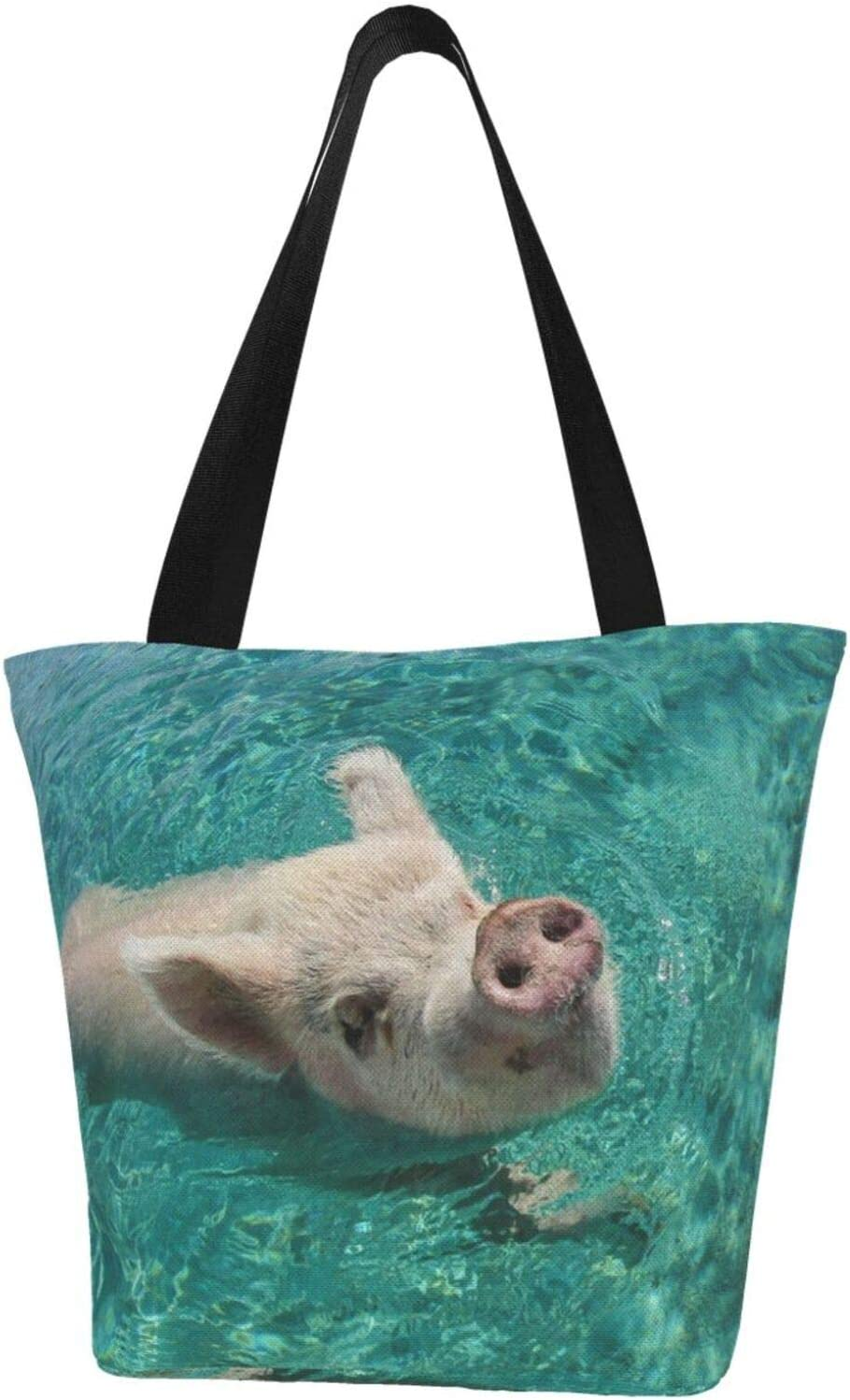 AKLID Swimming Pig Extra Large Water safety Trust f Bag Canvas Tote Resistant
