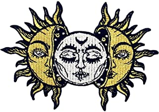 Toppa ricamata da applicare con ferro da stiro o cucitura, tema: Sole e Luna