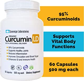 Liposomal Organic Curcumin - BioPerine Free to Prevent GI Issues - 500mg, 60 Veg Caps, Gluten Free, No Fillers - Supports Healthy Joints, Anti-Inflammatory - 95% Curcuminoids - 2 Month Supply