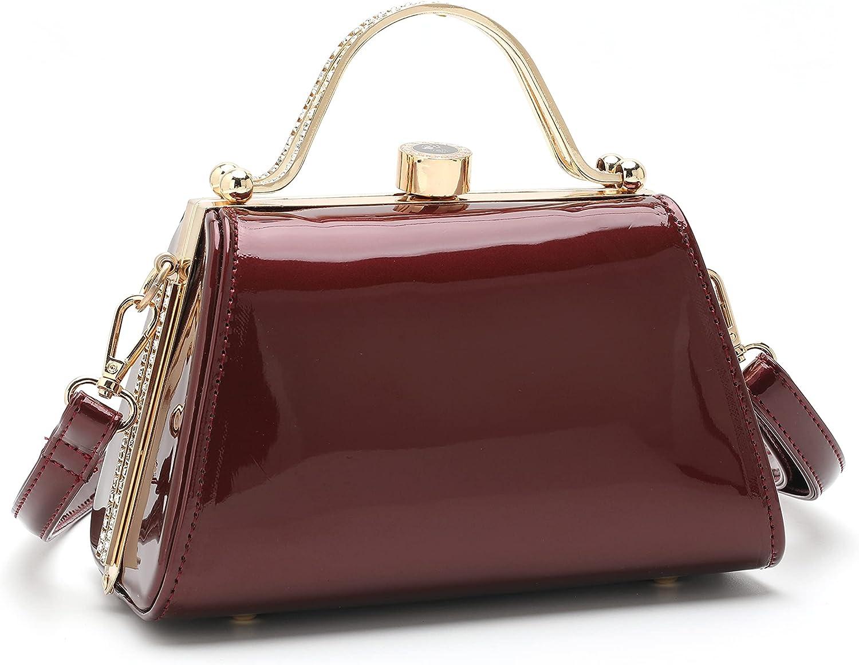 Elegant Top Handle 5 popular Satchel Purse Shiny Patent Leather Handbags gift C