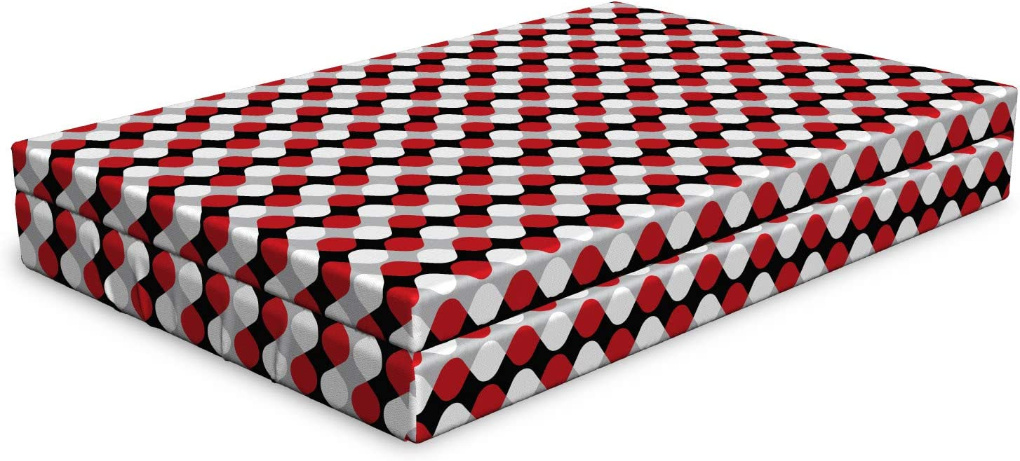 Ambesonne Geometric Dog Washington Mall Bed Curved Oval Bicolor Shap Lines Indefinitely with