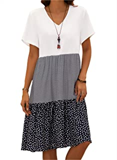 COSKPUTY Women's Summer Casual Floral Tunic V-Neckline A-line Dress