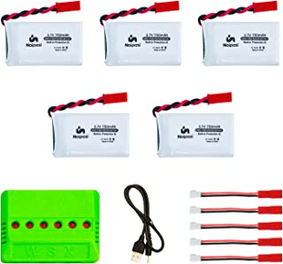 Noiposi 5pcs 3.7V 750mAh 25C Lipo Battery with X6 Charger for MJX X400 X400W Holy Stone X300C X400C X800 HS110 HS200 HS110 HS200 HS120 HS130 Syma X56W Sky Viper S670 V950hd s1750