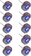 AUTOTOOLHOME 10 Pack Abrasive Flap Wheel Sander 80 Grit 1/8 inch Shank for Drill Grinding Polishing Sanding Wheels Rotary Tool