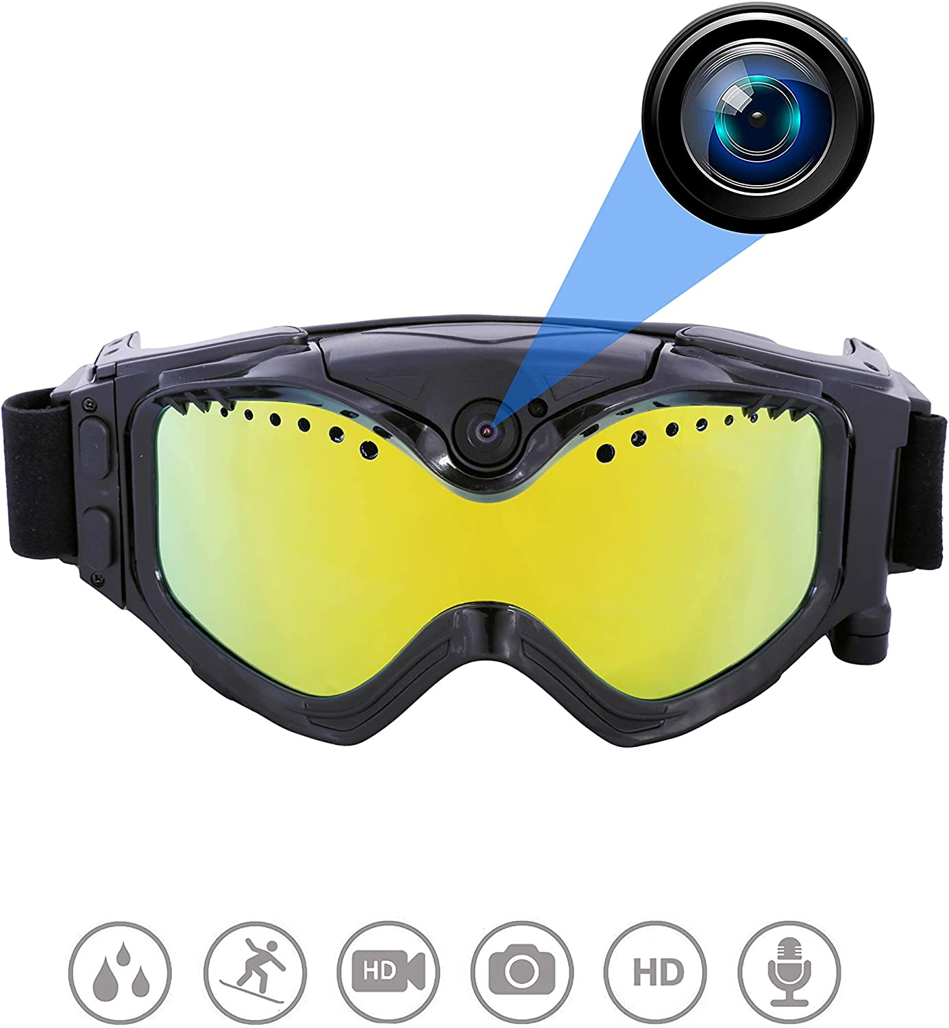 OHO 32GB Ultra HD Action Camera Ski Goggles with 140 Degree Builtin Camera, Anti Fog and UV400 Predection Ski Lens for Men Women Adult