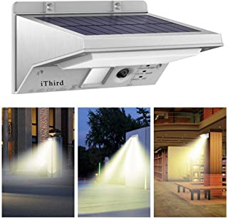 Solar Motion Sensor Light Outdoor, iThird LED Solar Powered Security Lights Stainless Steel for Yard Patio Garage Waterproof 3 Modes Super Bright(Warm White)