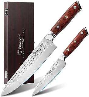 Sunnecko set Couteau Cuisine Couteau de chef 20cm+ Couteau utilitaire 13cm Couteau Lame tranchante avec coup de marteau Co...