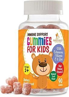 Kids Immune Support Gummies with C, Echinacea and Zinc - Children's Support Vitamin Gummy, Tasty Natural Fruit Flavor, Veg...