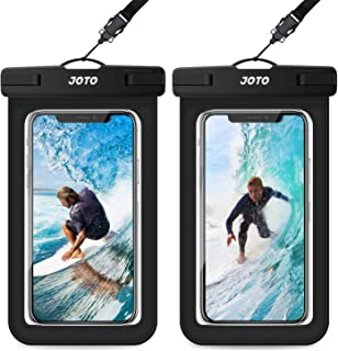"""JOTO Universal Waterproof Pouch, IPX8 Waterproof Cellphone Dry Bag Underwater Case for iPhone 11 Pro Max Xs Max XR X 8 7 6S+ SE 2020, Galaxy S20 Ultra S10 S9 S8/Note10+ 9 up to 6.9"""" -2 Pack, Black"""