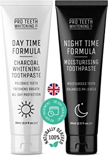Activated Charcoal Teeth Whitening Toothpaste & Night Time Anti Dry Mouth/Moisturising Toothpaste - Made in The UK by Pro Teeth Whitening Co.