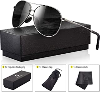 Polarized Aviator Sunglasses for Men - Feirdio Metal...