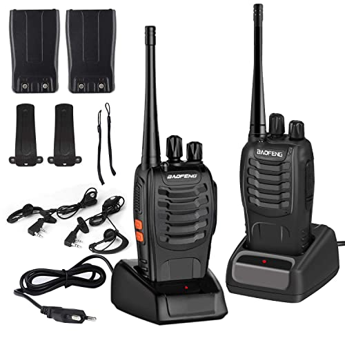 LESHP Walkie Talkie Juego de 2 (16 Canales, VHF/UHF/FM 400