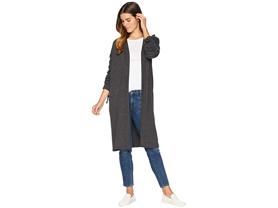 1.STATE Ruched Sleeve Cardigan w/ Ties (Dark Heather Gray) Women