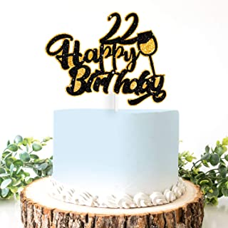 AERZETIX Birthday Decoration Happy 22nd Birthday Cake Topper Wine Glass Sign Cheers to 22 Years Old Bday Party Decoration Present Supplies
