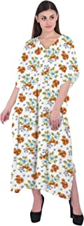 RADANYA Women Flowers Print Cotton Kaftan Bikini Swimsuit Cover Up Swimwear Caftan
