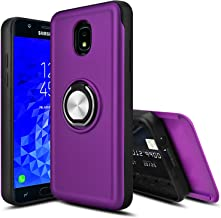 Leptech Ring Holder Series Slider Card Slot Compatible with Samsung Galaxy J7 2018 Case/Galaxy J7 Star Case/Galaxy J7 Refine Case/Galaxy J7 Aero Case/Galaxy J7 Eon Case (Purple)